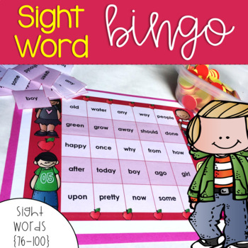Sight Word Bingo for Words 76-100