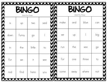 Dolch Sight Word Bingo-Pre-Primer