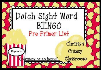 Dolch Sight Word Bingo--Pre-Primer List
