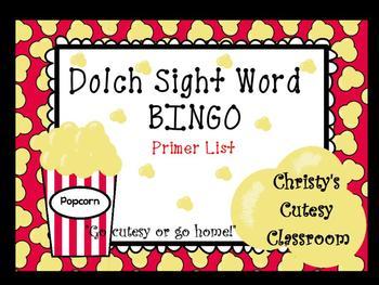 Dolch Sight Word Bingo--Primer List