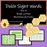 Dolch Sight Word Block Letter Activity for pre-k