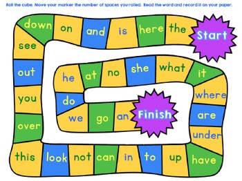 Dolch Sight Word Board Game