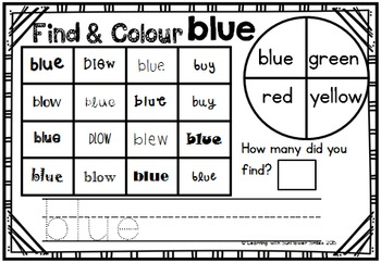 Dolch Sight Word Booklet - blue (Pre-Primer)