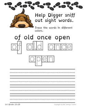 Sight Word Bookmarks and Activity Sheets for First Grade