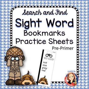 Sight Word Bookmarks and Practice Sheets Pre-Primer
