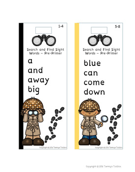 Sight Word Bookmarks and Practice Sheets - Primer