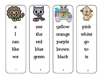 Dolch Sight Word Bookmarks and Parent Letters