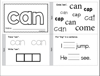 Dolch Sight Words Printable Books - Pre-Primer Set