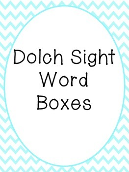 Dolch Sight Word Boxes