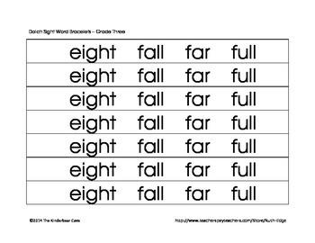 Dolch Sight Word Bracelets Grade Three Set