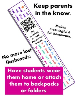Dolch Sight Word Homework {Bracelets with QR codes}