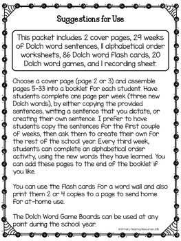 Dolch Words: Grade 2 & 3