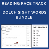 Dolch Sight Word Bundle Pre-K, K, 1st, 2nd, 3rd, and Nouns Reading Race Tracks