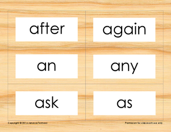 Dolch Sight Word Cards (1st Grade list) on wood grain background