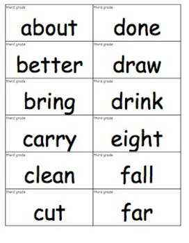 Dolch Sight Word Cards (3rd Grade List)