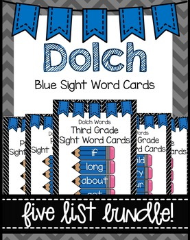 Dolch Word Wall Sight Word Cards Bundle- Blue