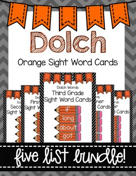 Dolch Word Wall Sight Word Cards Bundle- Orange