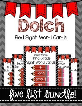 Dolch Word Wall Sight Word Cards Bundle- Red