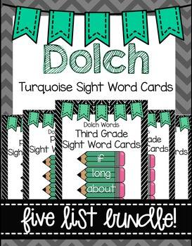 Dolch Word Wall Sight Word Cards Bundle- Turquoise