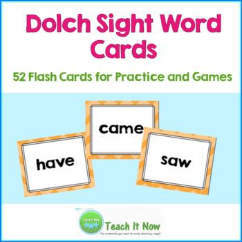 Dolch Sight Word Cards (Kindergarten)