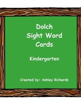 Dolch Sight Word Cards Kindergarten