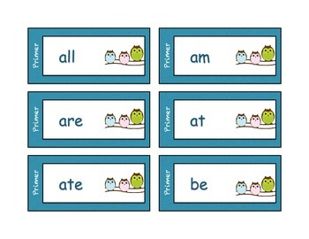 Dolch Sight Word Cards - Owl Theme