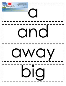 Dolch Sight Word Cards: Pre-primer, Primer, Level 1, Level 2, Color/Number Words