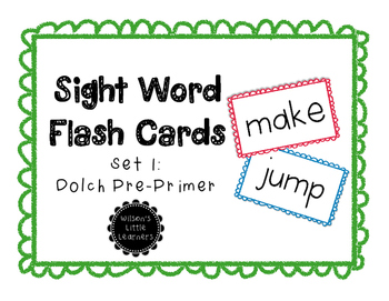 Dolch Sight Word Cards Set 1: Pre-Primer