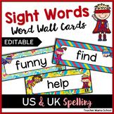 Editable Word Wall Cards - Sight Words (Superhero Theme)
