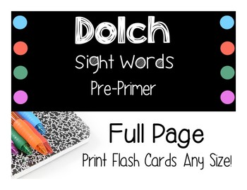 Dolch Sight Word Cards and Assessments