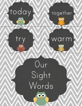 Dolch Sight Word Cards in Primary Font - Owls, Chalkboard and Chevron Theme!