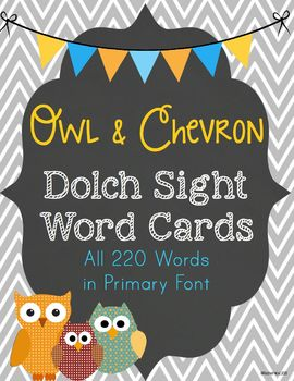 Dolch Sight Word Cards in Primary Font - Owls, Chalkboard