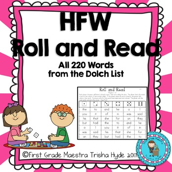 High Frequency Word Roll and Read HFW  Ready to Go Center All 220 Dolch Words