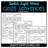 Dolch Sight Word Cloze Sentences