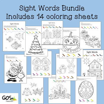 Sight Word Coloring Sheets - GROWING BUNDLE Holiday/Seasonal Year Round