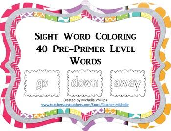 Dolch Sight Word Coloring Worksheet - Pre-Primer Level