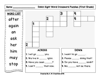 Dolch Sight Word Crossword Puzzles **BUNDLE**