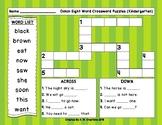 Dolch Sight Word Crossword Puzzles Kindergarten **FREEBIE**