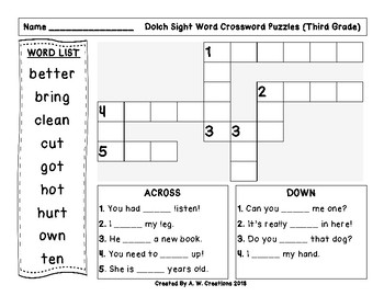 Dolch Sight Word Crossword Puzzles Third Grade