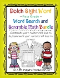 Dolch Sight Word First Grade Word Search and Math Scramble