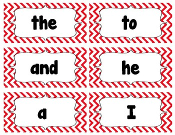 Dolch Sight Word Flash Cards Chevron