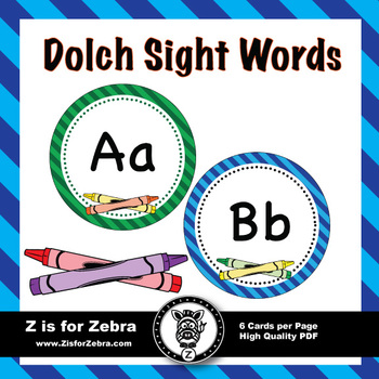 Dolch Sight Word Flash Cards & Nouns 316 cards - Crayon theme