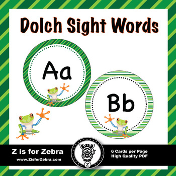 Dolch Sight Word Flash Cards & Nouns 316 cards - Frog Theme