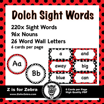 Dolch Sight Word Flash Cards & Nouns 316 cards - Ladybug Theme