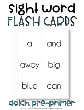 Sight Word Flash Cards, Dolch Pre-Primer