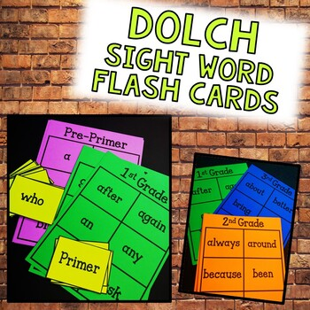 Dolch Sight Word Flash Cards | Pre-Primer - Third Grade