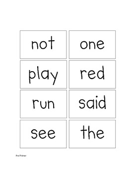 Dolch Sight Word Flash Cards - Pre Primer and Primer