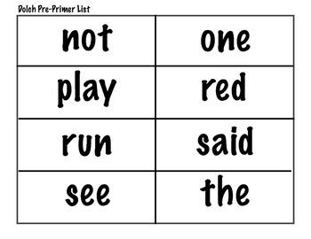 Dolch Sight Word Flash Cards Pre-Primer to 3rd Grade