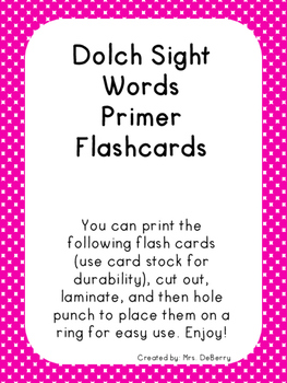 Dolch Sight Word Flash Cards- Primer