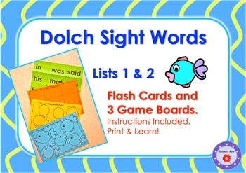 Dolch Sight Word Flash Cards and 3 Game Boards- List 1 & 2